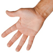 Open palm of a male hand on white background